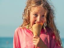 Child with ice cream stock photography