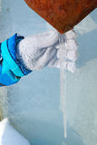 Child with icicle Royalty Free Stock Image