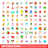 100 child icons set, cartoon style. 100 child icons set in cartoon style for any design vector illustration Stock Photos