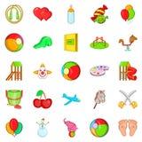 Child icons set, cartoon style Royalty Free Stock Photography