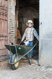 Child ie carrying a cat in the wheelbarrow. Child is carrying a cat in the wheelbarrow out of the stable Royalty Free Stock Photography