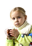 Child is ill with cup of tea Stock Photos