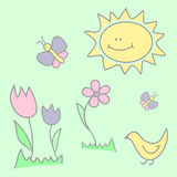 Child illustration with butterflies, flowers, and the sun Stock Image