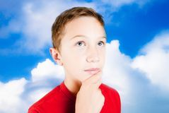 Child that imagines Royalty Free Stock Photos