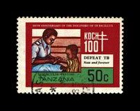 Child immunization, tuberculosis scientist anniversary, explorer, tubercle bacillus discoverer Robert Koch, Tanzania, circa 1982,. TANZANIA - CIRCA 1982: post royalty free stock images