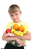 Child In Fruit Isolated Royalty Free Stock Photos