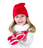 Child In Gloves Stretching Empty Hands Xmas Concept Isolated. Stock Image