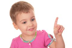 Child with index finger royalty free stock photo
