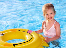 Child  on inflatable ring . Stock Images