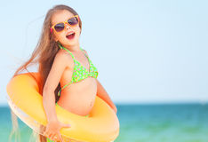 Child with inflatable ring Stock Photography
