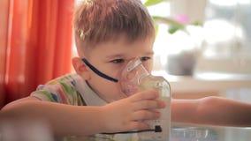 Child with inhaler 7 stock video