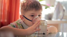 Child with inhaler 6 stock video footage