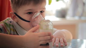 Child with inhaler 8 stock footage