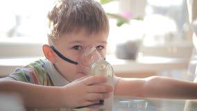 Child with inhaler 9 stock video