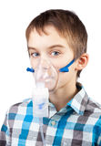 Child with inhaler mask stock photography