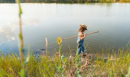 Child with a insect net catches butterfly.  royalty free stock images