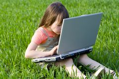 Child inside computer Royalty Free Stock Image
