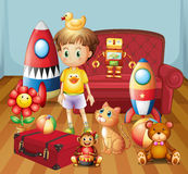 A child inside the house with his toys Stock Photography