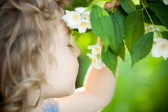 Child with jasmin flower Stock Images