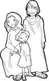 Child Jesus - BW illustration. Child Jesus with his parents, Maria and Giuseppe Stock Photo