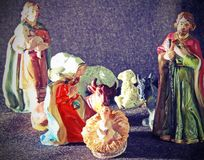 Child Jesus in the manger with a shepherd Royalty Free Stock Photography