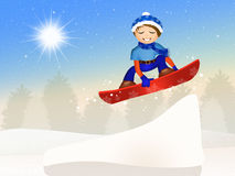 Child jumping with snowboard Royalty Free Stock Photo