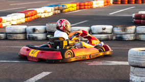 Child kart racing need for speed Royalty Free Stock Photography