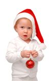 Child keep christmas toy in hand Royalty Free Stock Image
