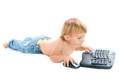Child with keyboard and mouse Stock Photos