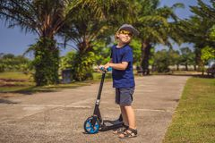 Child on kick scooter in park. Kids learn to skate roller board. Little boy skating on sunny summer day. Outdoor stock photos