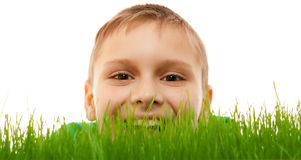 Free Child Kid Boy Face Closeup Happy Smile Green Grass Isolated White Stock Photo - 53573560