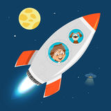 Child kid boy and rocket in space Stock Images