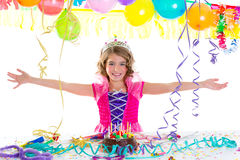 Child kid crown princess in birthday party. Happy gesture and chocolate cake Royalty Free Stock Image