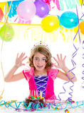 Child kid crown princess in birthday party Royalty Free Stock Images