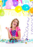 Child kid crown princess in birthday party Royalty Free Stock Photos