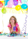 Child kid crown princess in birthday party Stock Image
