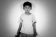 Child kid cute little boy sad and standing alolen stock photography