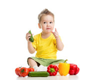 Child or kid eating healthy food Stock Photo