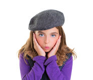 Child kid girl face expression of surprise hands in face Royalty Free Stock Image