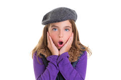 Child kid girl face expression of surprise hands in face. On white with winter fashion cap Royalty Free Stock Image