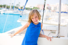 Child kid girl in marina boat on summer vacations Royalty Free Stock Photos