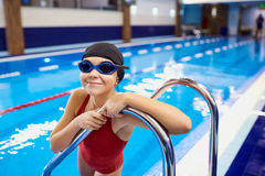Child kid girl swimmer in the pool.  Royalty Free Stock Photography