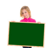Child kid happy girl holding blank blackboard copyspace Royalty Free Stock Images