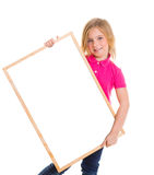 Child kid happy girl holding blank blackboard copyspace Stock Images