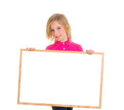 Child kid happy girl holding blank blackboard copyspace Stock Photo