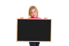 Child kid happy girl holding blank blackboard copyspace Stock Photos