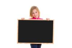 Child kid happy girl holding blank blackboard copyspace Stock Photos