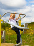 Child kid having fun in playground air walker. Stock Image