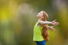 Child, kid, joy, faith, praise and happiness. And freedom Stock Photo