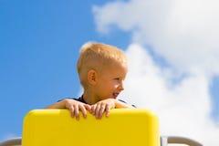 Child kid in playground climbing playing. Stock Photo